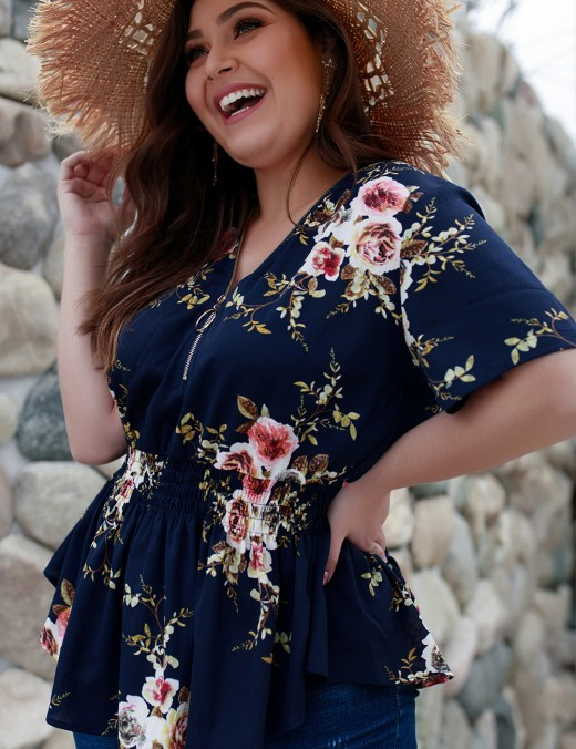 Homelike Navy Blue Plus Size Flower Printed Tops Ruffles Natural Outfit