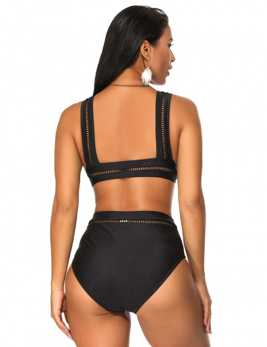 Super Sexy Black Detachable Pads Two Pieces Swimwear Mid Waist Chic Online
