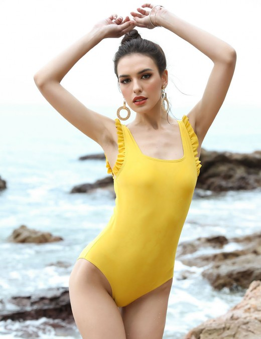 Sexy Ladies Yellow Removable Pads One Piece Beachwear Wide Straps Extra Sexy