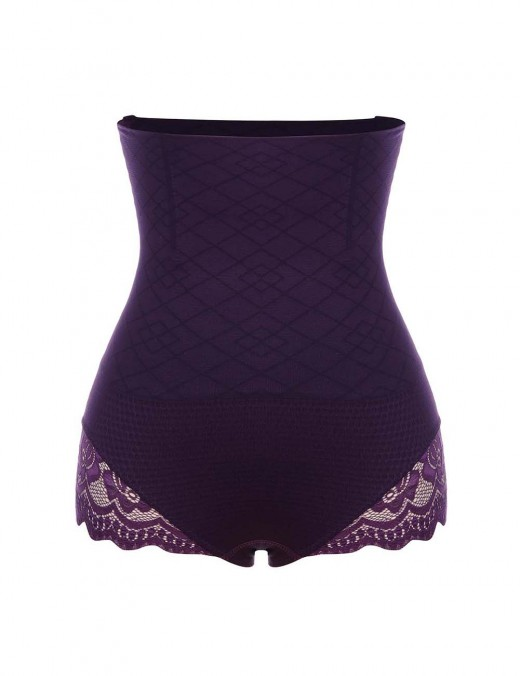 High-Compression Purple Seamless Butt Lifter Panty High Waist Curve Smoothing
