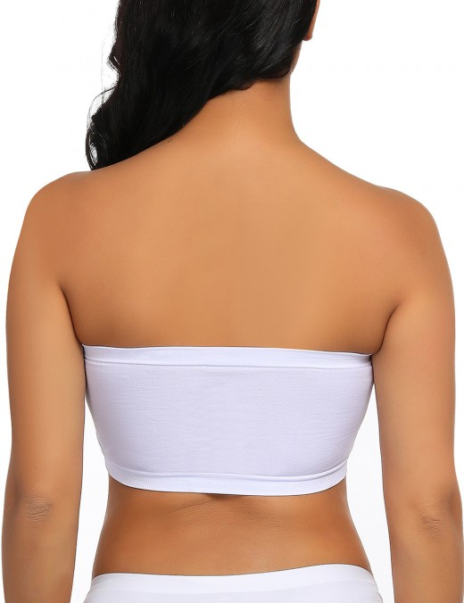 Ultra Hot White Seamless Cotton Bandeau Top Detachable Pads Allover Slim