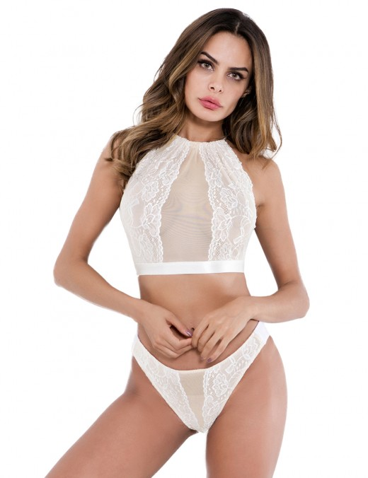 Mesh White Halter Two Pieces Bralette High Cut Romantic Sleepwear