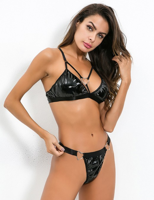 Enchanted Black Triangle Two Pieces Leather Lingerie Cross Slim Fit
