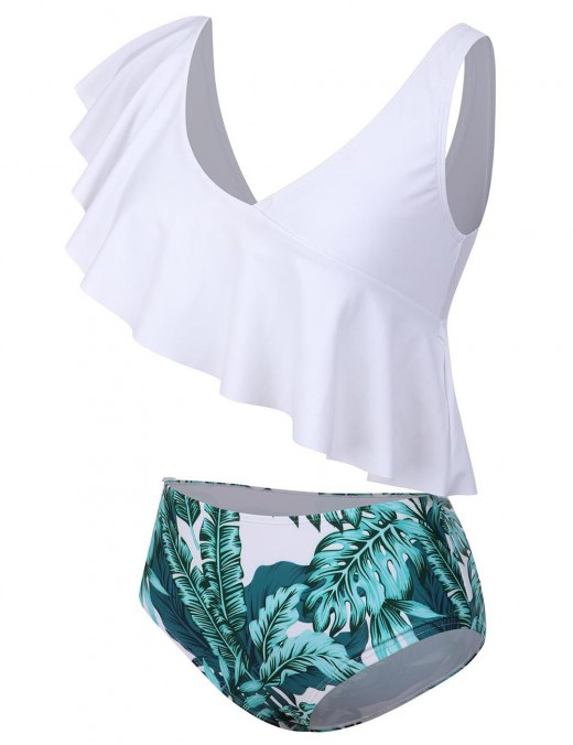 Awesome White Plunging Two Pieces Beachwear Leaf Pattern Sunshine Stunner