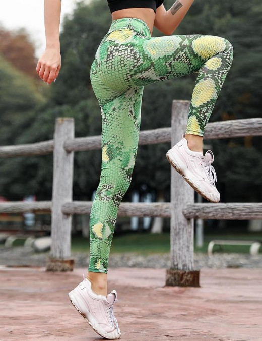 Trendy Green Enhance Hip Tights Activewear Serpent Pattern Slim