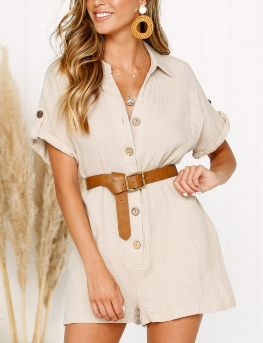 Stunning Khaki Buttons Pocket Rompers Solid Color Simplicity