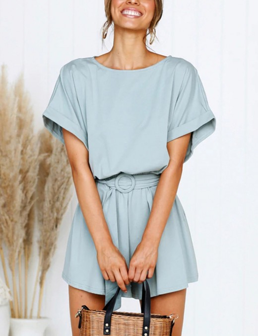 Edgy Blue Waist Sash Pockets Rompers Above Knee Stretchy