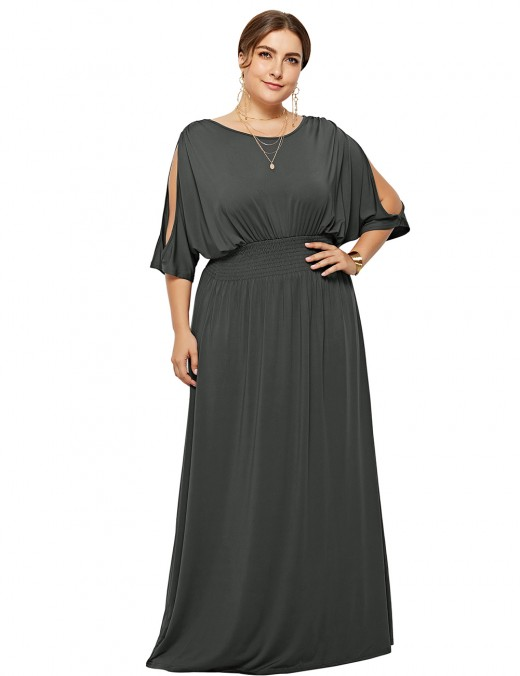 Casual Dark Grey Solid Color Ruched Maxi Dress Plus Size Best Materials