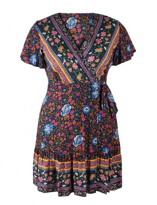 Silhouette Flower Pattern Knot Midi Dress Queen Size Free Time