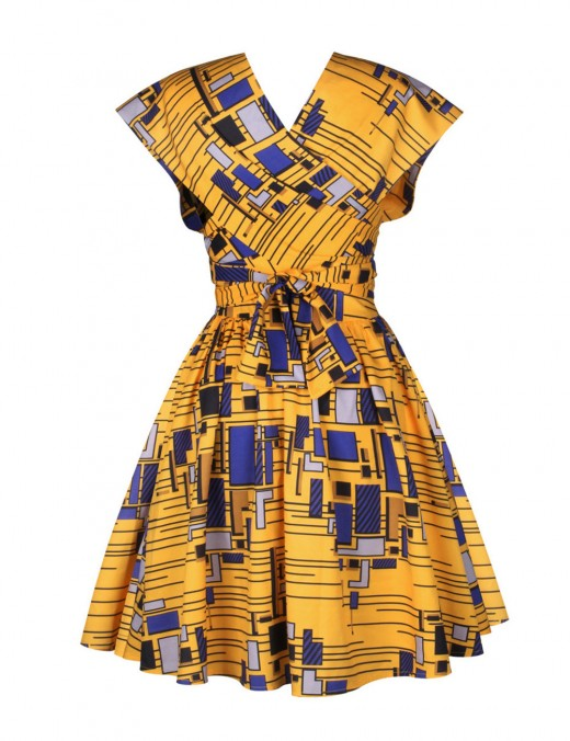 Natural African Print Short Dress Criss Cross Newest Fashion