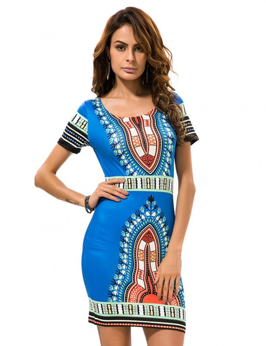 Soft Blue Short Sleeves Printed Mini Dress Large Size Sale Online