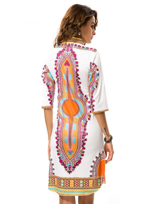 Contouring Sensation White Half Sleeve Printed Mini Dress Deep V-Neck