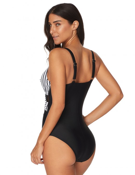 Versatile Striped Mesh One Piece Swimsuit Splice Classic Style