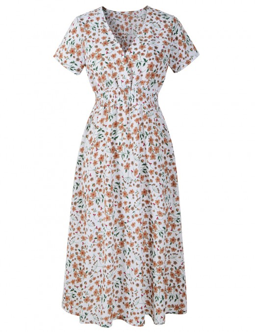 Energetic White Floral Print Midi Dress Short Sleeves Leisure