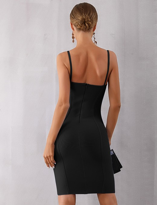 Plain Black Sling Bodycon Dress Square Back Neck High Quality