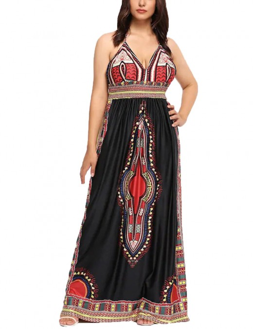 Casual Black Queen Size Printed Maxi Dress Deep V-Neckline Classic Fashion