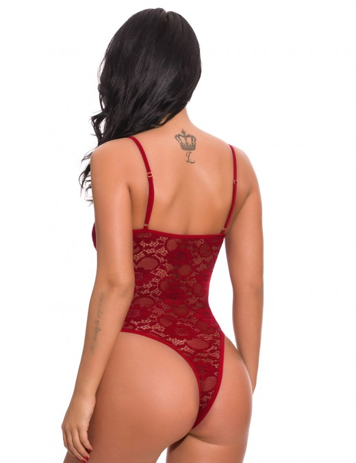 Dramatic Wine Red Plunging Neck Teddy Spaghetti Straps Lace