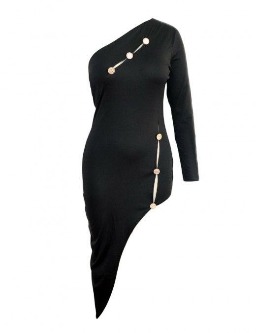 Extraordinary Black Long Sleeve Bodycon Dress Asymmetric Hem Sheath