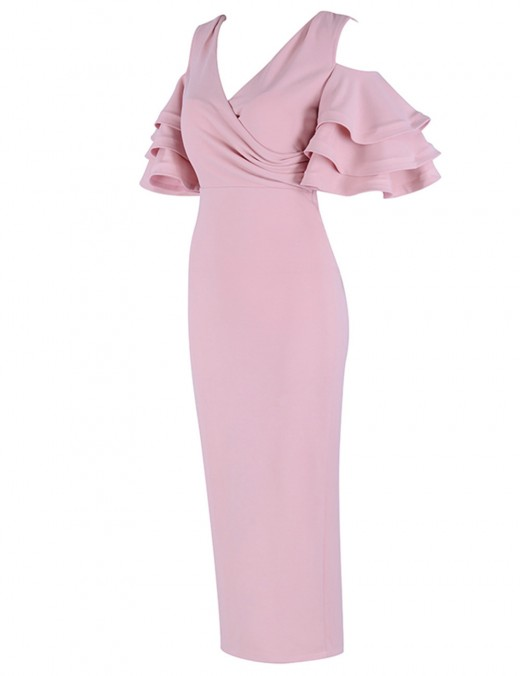 Pink Ruched Maxi Bandage Dress Pure Color Delightful Garment