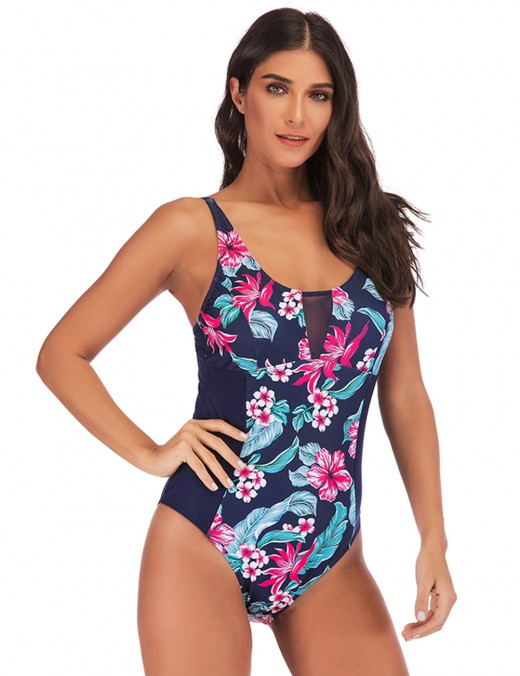 Individualistic Floral Print Plus Size One Piece Swimwear Mesh Garment