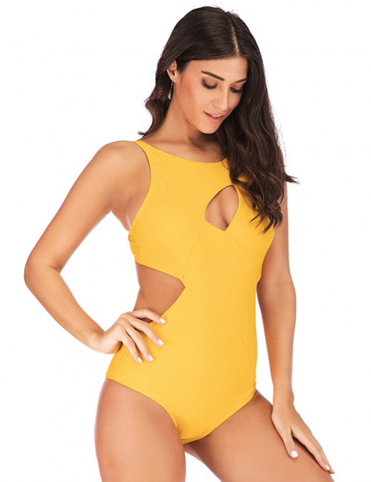 Sophisticated Yellow Front Keyhole Plus Size Monokini Open Back For Women