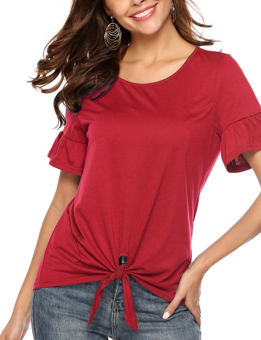 Charming Bow Tie Blouse Bell Sleeves Wine Red Comfort Touch