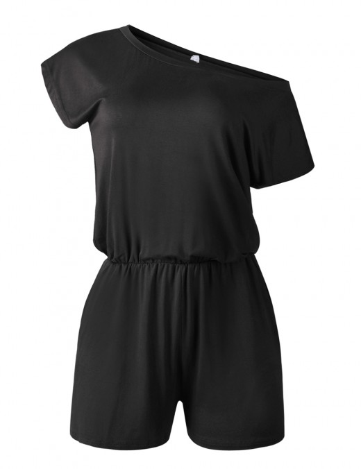 Gorgeously Black Elastic Waist Mini Rompers Bare Shoulder Elasticity