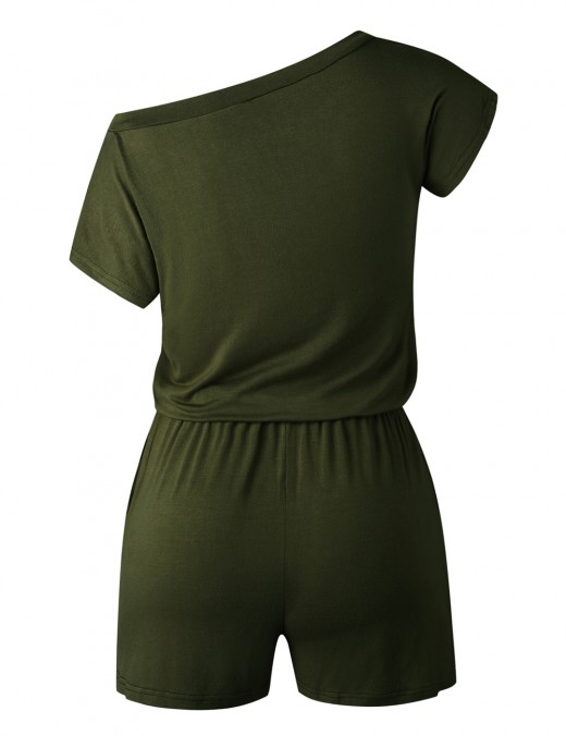 Elegance Army Green Short Jumpsuits Elastic Waist Solid Color Breath