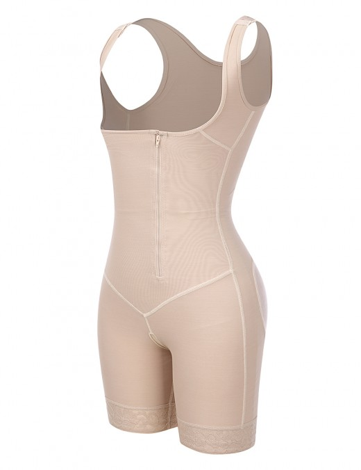 Sheer Nude Crotchless Zipper Hooks Body Shaper Plus Size Slimming Belly