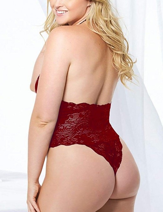 Noble Wine Red Flower Lace Detail Big Size Mesh Teddy Night