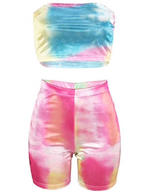 Super Reflective Rainbow Gradient Color Bandeau 2 Pieces Casual Clothes