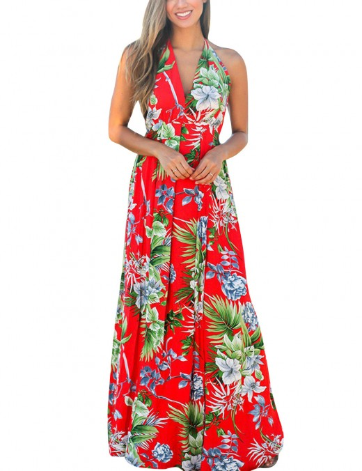 Elaborate Floral Backless Wrap Maxi Dress Plunging Neck Red