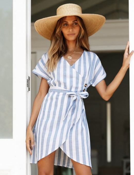 Blue Stripe Wrap Hem V Collar Waist Tie Dress Latest Fashion