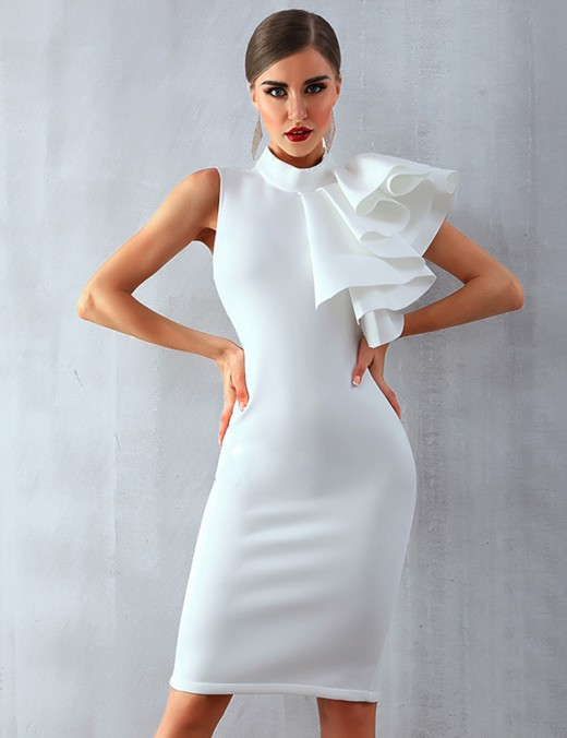 Diva White Folds Banquet Evening Dress Back Zipper Slim