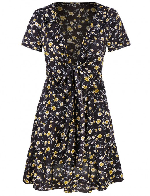 Laid-Back Black Deep V Neck Floral Print Dress Women Fashion