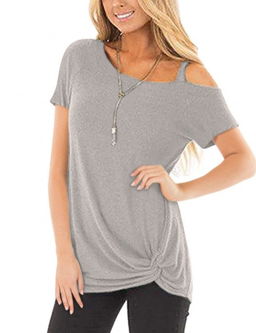Fiercely Light Grey Short Sleeves Tops Pure Color Distinctive Look