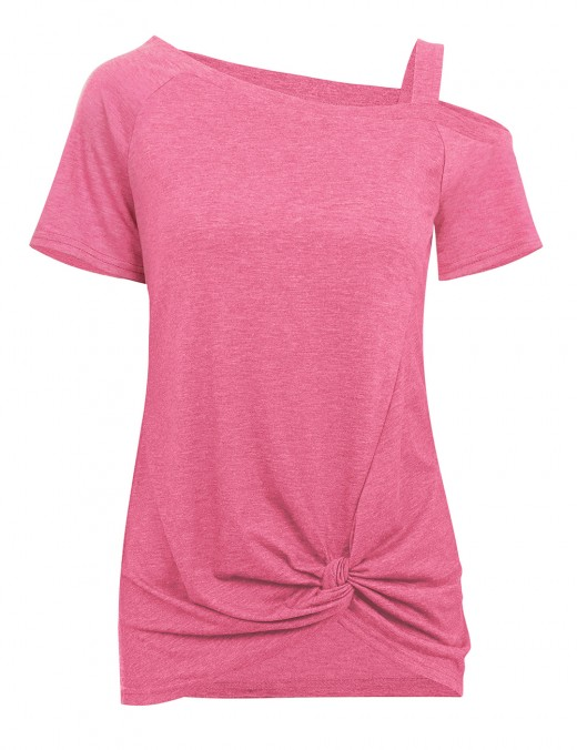 Fetching Pink Unsymmetric Hemline Tops Single Shoulder Online