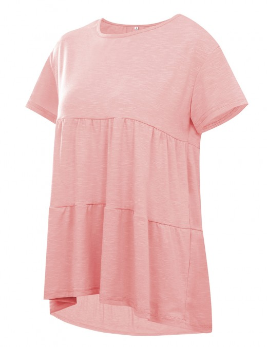 Spring Pink Swing Short-Sleeved Top Solid Color Forward Women