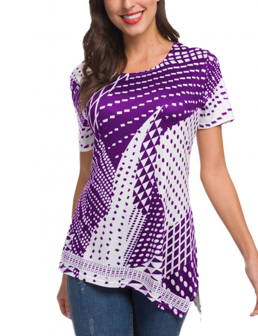Distinct Purple Unsymmetric Hem Print T-Shirts Short Sleeves Style