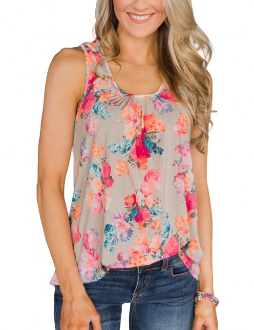 Modest Pink Racerback Zip Sleeveless Top Print For Female