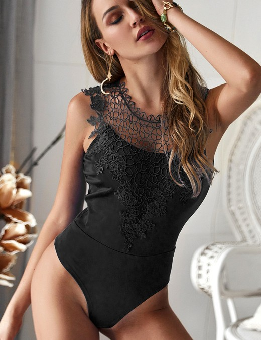 Characteristic Black Hollow Out Lace Bodysuit Solid Color For Women