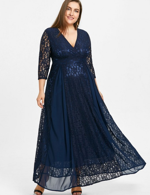 Irresistible Sapphire Blue V Neck Large Size Maxi Dress Hollow Lace