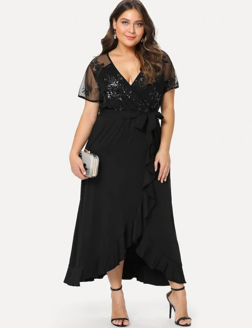 Maiden Black Wrap Plunge Neck Big Size Dress Mesh Relax Fit