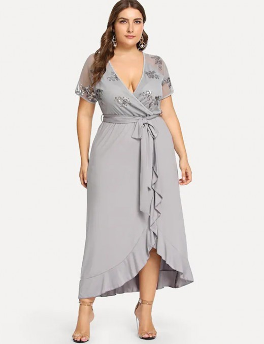 Relaxed Grey Short Sleeves Irregular Dress Ruffle Queen Size Honeymoon