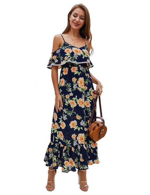 Flower Print Sapphire Blue Ruched Dress Ruffles For Daily