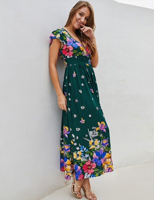 Eye Catcher Floral Pattern Army Green A-Line Dress Plunging Neck
