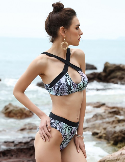 Sexy Snake Pattern Cut Out Swimwear Top Quality Material