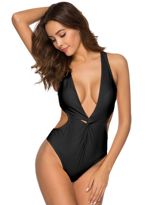 Hot Black One-Piece Front Twist Swimwear Side Cutout Sexy Fashion