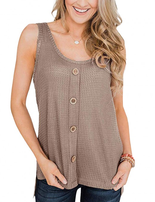Classy Khaki Sleeveless Tops High-Low Hemline Snug Fit