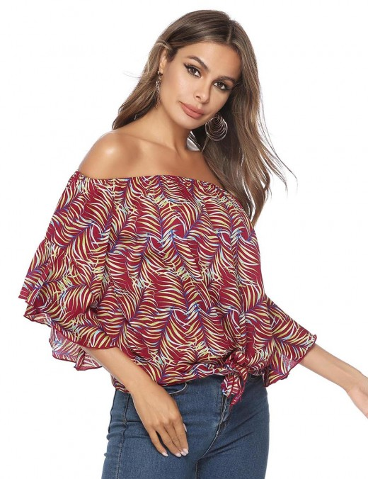 Gracious Off Shoulder Ruffle T-Shirt 3/4 Sleeves Quality Assured